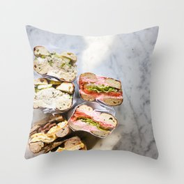 Bagels on Marble Throw Pillow