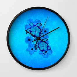 Blue Hibiscus And Honu Turtles Wall Clock