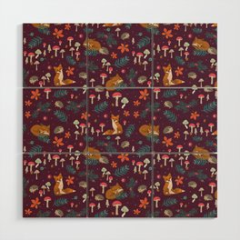 Fox and Hedgehog in Toadstool Wood In Red Wood Wall Art