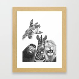 Black and White Jungle Animal Friends Framed Art Print