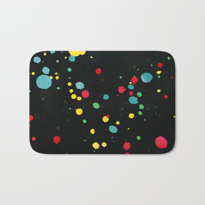 Watercolor splatters on black Bath Mat