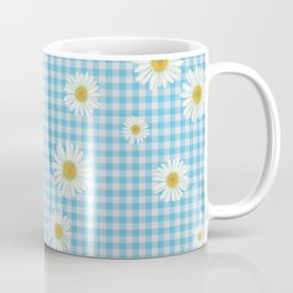 Daisies On Blue Gingham Coffee Mug