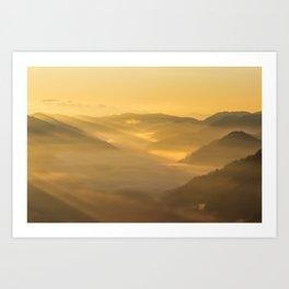 Sun light shining on morning fog Art Print