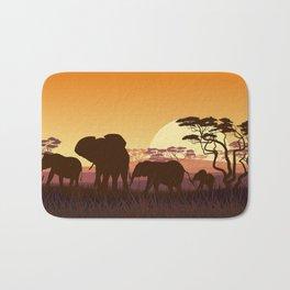 elephants in the African meadow Bath Mat