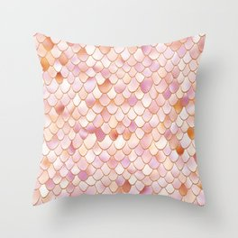 Rosegold Blush Mermaid Scales Throw Pillow