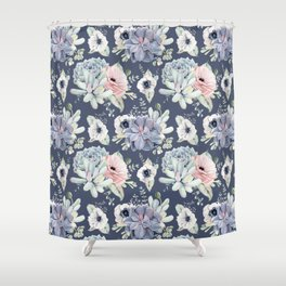 Beautiful Succulent Garden Navy Blue + Pink Shower Curtain