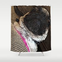 muppet Shower Curtains featuring Pug Muppet by Red NCK Debutante
