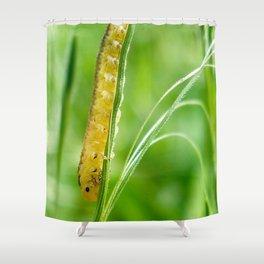 Magic Grass - Caterpillar - Macro Shower Curtain