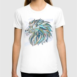 Zentangle head of the lion on the grunge background T-shirt