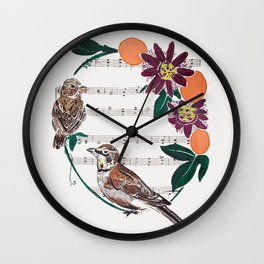 The Lark and the Sparrow and maypop Wall Clock