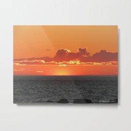 Orange sunset on the sea Metal Print