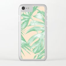 Tropical Leaves Palm Green on Citrus Clear iPhone Case