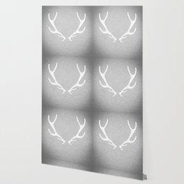 White & Grey Antlers Wallpaper