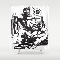 muscle Shower Curtains featuring Muscle Bears by Kawtastic