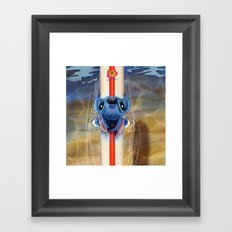 Waiting for the perfect wave...Stitch..^^ Framed Art Print