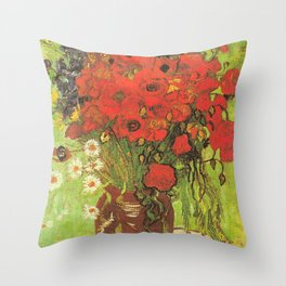 Still Life: Red Poppies and Daisies by Vincent van Gogh Throw Pillow