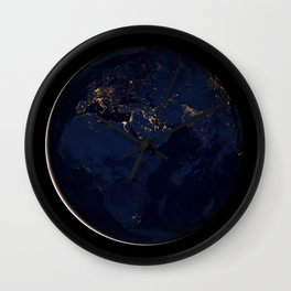 1158. Earth Black Marble - Africa, Europe, and the Middle East Wall Clock