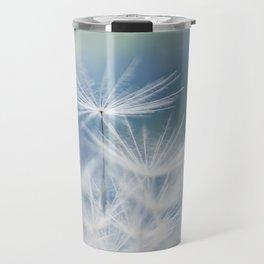 dandelion white blue Travel Mug