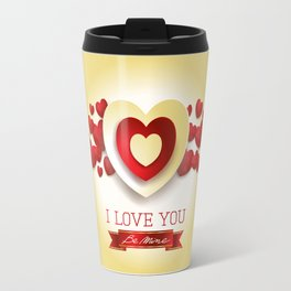 Love heart in yellow Travel Mug