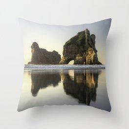Golden Hour Seascapes; Wharariki Beach, New Zealand Throw Pillow