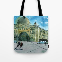 Sunny day on Flinders Street Tote Bag