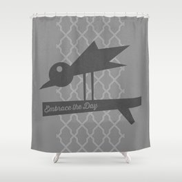 Embrace The Day - Gray Shower Curtain