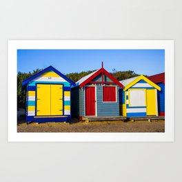 Iconic brightly coloured wooden beach huts from the early 1900s. Brighton Beach. Australia Art Print