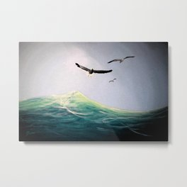 Seaguls Soaring with the Ocean Waves Metal Print