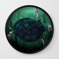 sea turtle Wall Clocks featuring Sea Turtle by Ben Geiger
