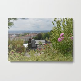 Couple in Lyon, France Framed with Flowers Metal Print