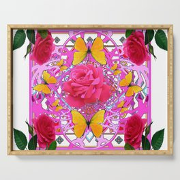 PINK ROSE FLOWERS  &  GOLDEN BUTTERFLIES GARDEN ART Serving Tray