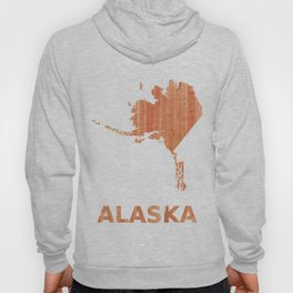 Alaska map outline Orange Brown Striped watercolor Hoody