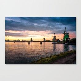 Windmills at sunset Canvas Print