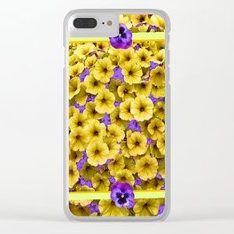 YELLOW PETUNIAS & LILAC PURPLE PANSIES FLORAL Clear iPhone Case