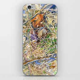 ground beneath my feet in spring: dry leaves, twigs and growing grass iPhone Skin