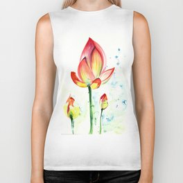 LOTUS FLOWER WITH BUDS Watercolor Biker Tank