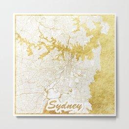 Sydney Map Gold Metal Print