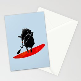 Elephant Paddle Boarding on the Ocean Stationery Cards