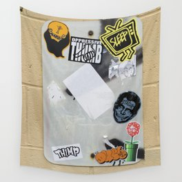 Urban Boredom Cured with Stickers Wall Tapestry