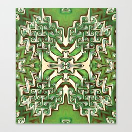 Green and Cream Spiral Bends Canvas Print