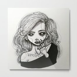 My little botched face. Metal Print