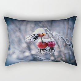 Rose hips and snow Rectangular Pillow