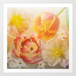 Tulips in pink, orange and yellow Art Print