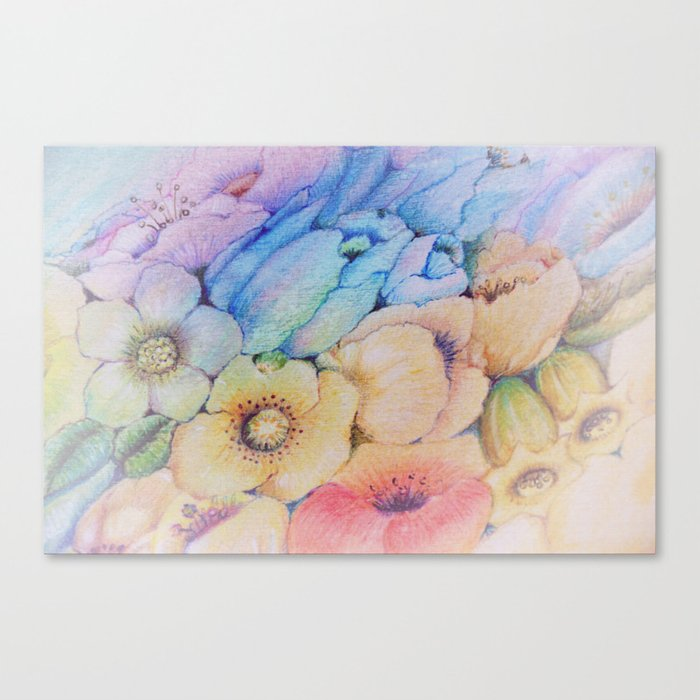 Summer fantasy with by hand drawn flowers. Canvas Print