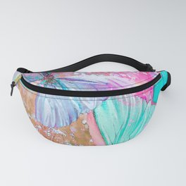 Turquoise butterflies on a pink background - lovely summer mood Fanny Pack