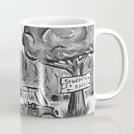 School House, Black and White Print of Primitive Art, Painting by Faye Coffee Mug