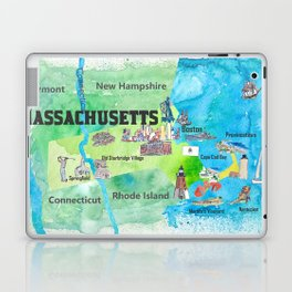 USA Massachusetts State Travel Poster Map with Touristic Highlights Laptop & iPad Skin