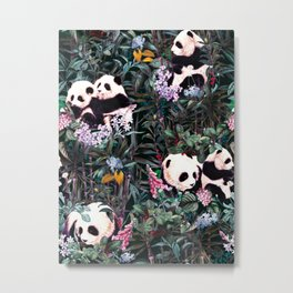 Rainforest Pandas Metal Print