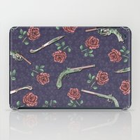guns iPad Cases featuring Elegant Guns Knives and Roses by Paula Belle Flores