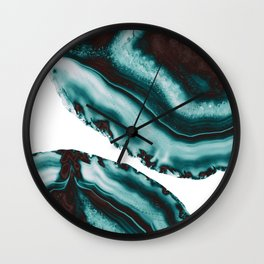Turquoise Brown Agate #1 #gem #decor #art #society6 Wall Clock